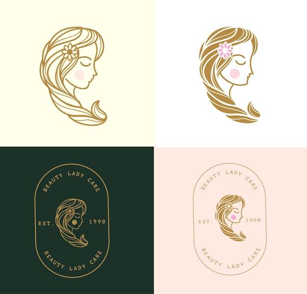 Logo di bellezza della signora minimal