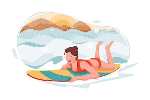 Signora che gode del surfing nell'illustrazione del mare