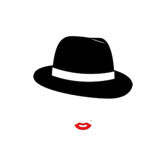 Signora modella donna con cappello