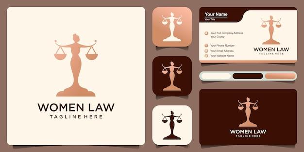 Logo lady lawyer modello di progettazione della giustizia