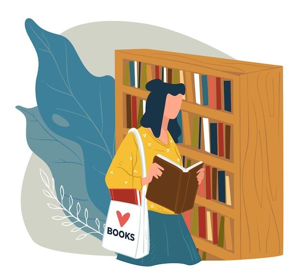 Lady picking libro da leggere in libreria, l'acquisto o il prestito di pubblicazioni dalla biblioteca. studente o topo di biblioteca con borsa di tela fantasia godendo letteratura e libri di testo moderni. vettore in stile piatto