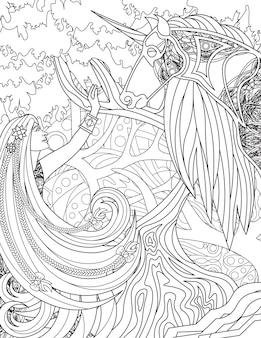 Signora alzando la mano e unicorno in piedi uno di fronte all'altro con disegno a tratteggio di sfondo della foresta woman