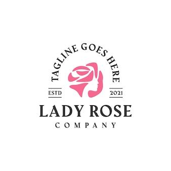 Modello di progettazione del logo del fiore femminile delle donne della signora rosa