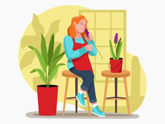 A lady speaking a phone call site on chair illustration design