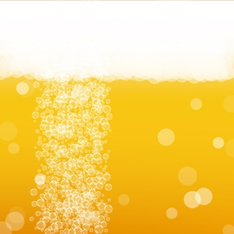 Birra chiara. sfondo con schizzi di artigianato. schiuma dell'oktoberfest. pinta ceca di birra con bolle realistiche. bevanda liquida fresca per pab. disposizione del menu arancione. brocca d'oro per lo sfondo della birra.