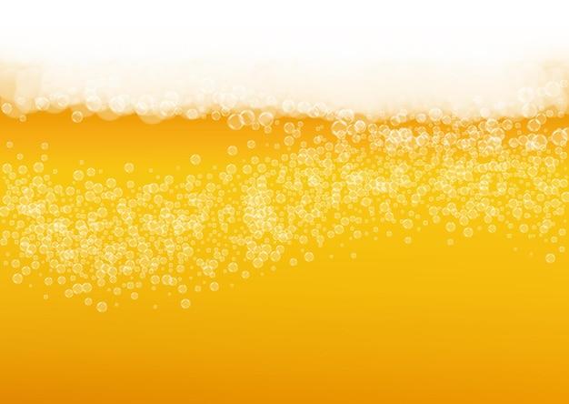 Birra chiara. pinta di birra chiara con bolle bianche realistiche. Vettore Premium