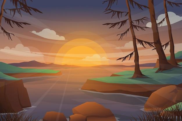 Lago e montagna con paesaggio al tramonto. pino realistico in siluette della foresta e della montagna, panorama di legno di sera. illustrazione sfondo natura selvaggia