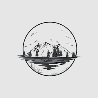 Logo lago e montagne in stile vintage
