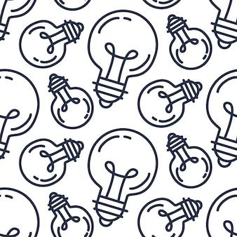 Modello senza cuciture della lampadina. sfondo di idea di successo creativo. ornamento di innovazione per avvio di attività, tecnologia, scienza. elemento di design di invenzione, studio, immaginazione e creatività. vettore