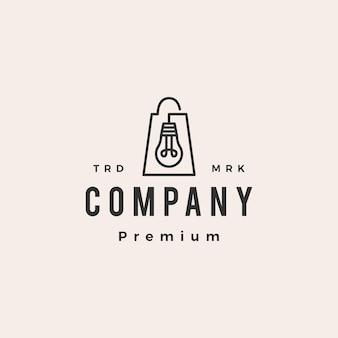 Modello di logo vintage hipster di shopping bag negozio lampadina lampada
