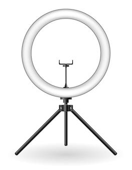 Flash della lampada per l'illustrazione di vettore dei blogger di ripresa di selfie isolata su fondo