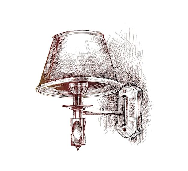 Lampada appesa al muro illustrazione vettoriale di schizzo disegnato a mano
