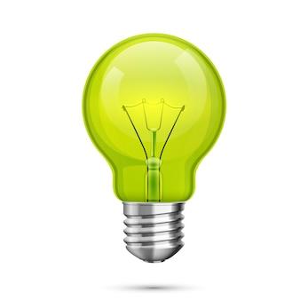 Icona idea lampada, oggetto luce verde su sfondo bianco. illustrazione vettoriale