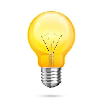 Icona idea lampada, oggetto luce gialla su sfondo bianco. illustrazione vettoriale