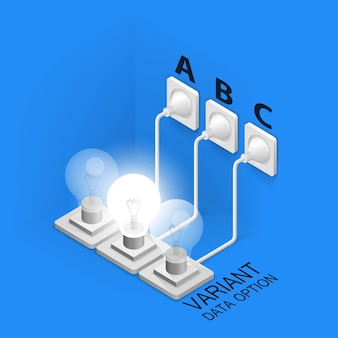 Lampada inserita isometrica art. illustrazione vettoriale