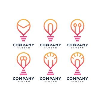 Design del logo del set di lampade