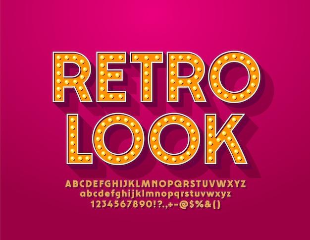 Segno della lampada look retrò con elegante carattere vintage. lettere e numeri dell'alfabeto della lampadina