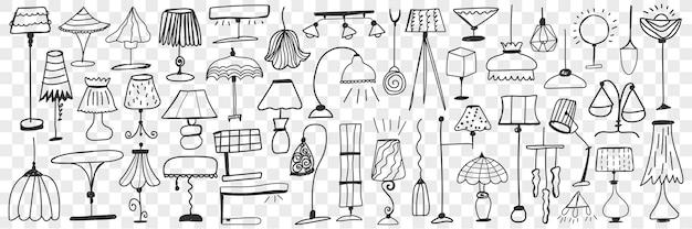 Lampade e lampade da terra doodle insieme. collezione di lampade eleganti carine disegnate a mano per la decorazione domestica su varie forme e dimensioni isolate.