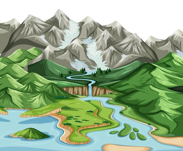 Paesaggio di geografia terrestre e acquatica
