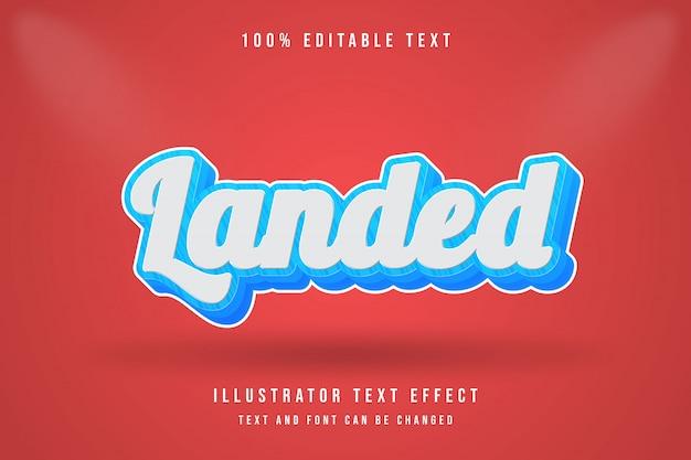 Atterrato, stile di testo modificabile 3d effetto blu modificabile stile moderno