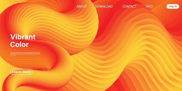Pagina di destinazione, flusso astratto 3d. design fluido sfumato brillante