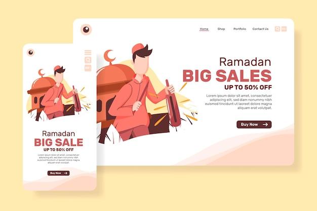 Grande vendita della pagina di destinazione per il ramadan con i musulmani