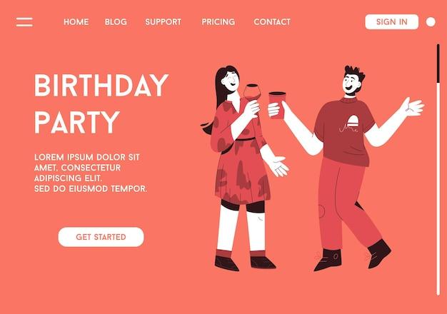 Pagina di destinazione del concetto di festa di compleanno