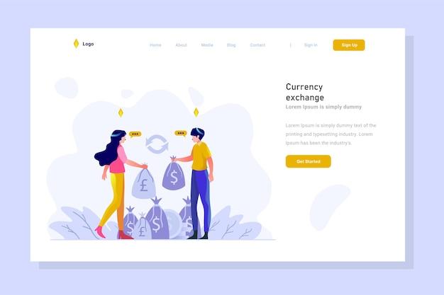 Pagina di destinazione affari e finanza scambiano denaro gradiente design piatto illustrazione