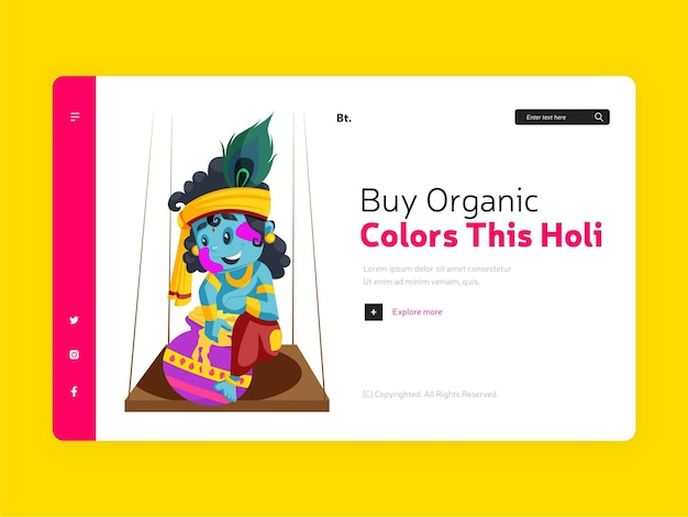 Pagina di destinazione di acquistare colori organici questo holi