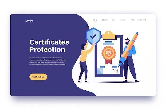 Protezione certificati pagina di destinazione