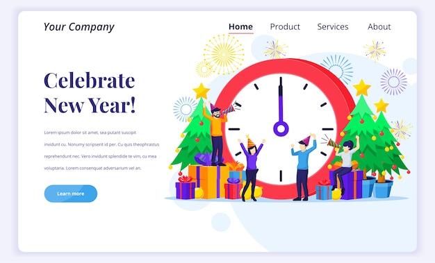 Concetto di pagina di destinazione di festeggia il nuovo anno.