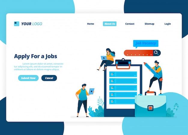 Design della pagina di destinazione di applicare per i lavori. selezione di assunzioni e annunci di lavoro.