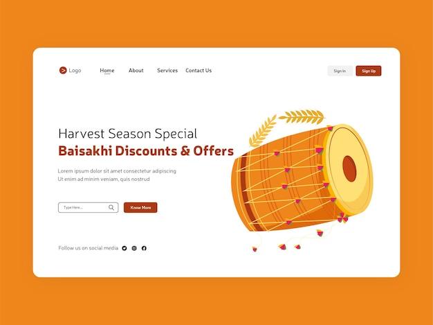 Design della pagina di destinazione del festival baisakhi con illustrazione punjabi dhol