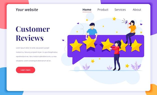 Concetto di design della pagina di destinazione delle recensioni dei clienti, persone che danno cinque stelle di valutazione e recensione e feedback positivo