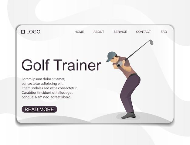 Design della pagina di destinazione per l'allenamento di golf