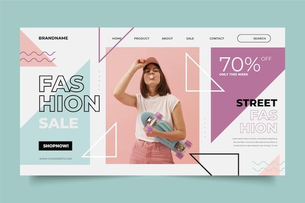 Vendita di moda nella pagina di destinazione