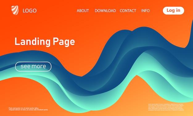 Pagina di destinazione. forma del flusso. sfondo fluido