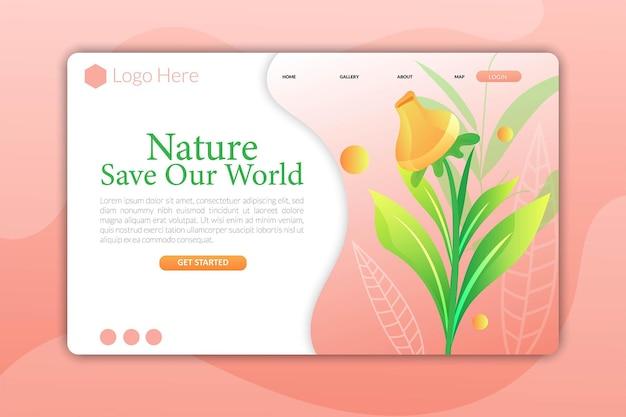 Fiore della pagina di destinazione o pagina web per il design del modello di bellezza