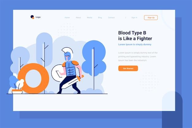 Pagina di destinazione salute medico gruppo sanguigno o guerrieri combattenti pronti a combattere in stile piatto e strutturato