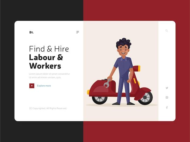 Pagina di destinazione del design del modello di manodopera e lavoratori assunti