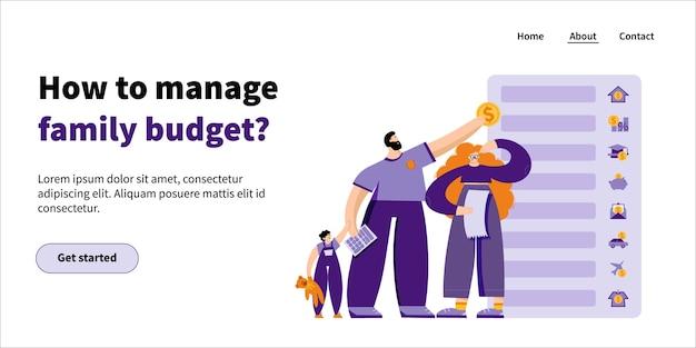 Pagina di destinazione come gestire il budget familiare: la giovane famiglia insieme al bambino pianifica il proprio budget assegnando denaro a diverse voci di budget
