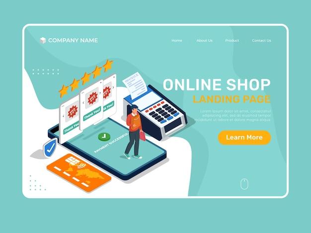 Pagina di destinazione illustrazione del negozio online con l'uomo che acquista con il telefono cellulare.