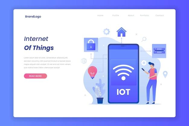 Pagina di destinazione del concetto di internet delle cose.