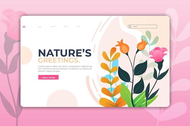 Landing page natur o pagina web per il design del modello di bellezza