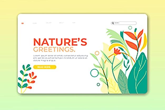 Pagina di destinazione natura o design della pagina web premium