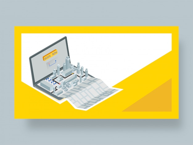 Pagina di destinazione per l'applicazione di prenotazione di taxi online. Vettore Premium
