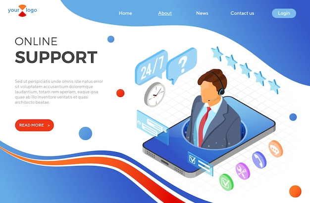 Pagina di destinazione assistenza clienti online con consulente maschio