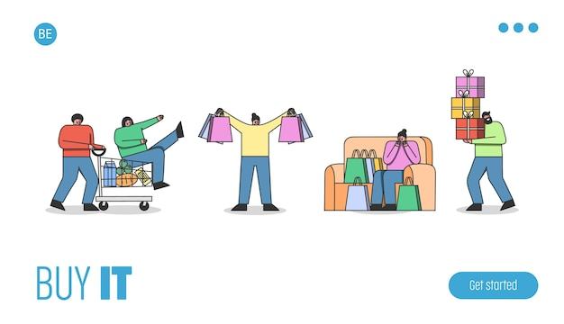 Pagina di destinazione per la progettazione del sito web del negozio online con la gente del fumetto che tiene i sacchetti della spesa