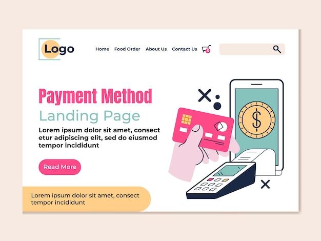 Metodo di pagamento della pagina di destinazione ordine online e consegna disegno vettoriale piatto