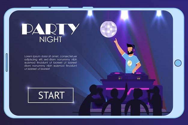 Pagina di destinazione sullo schermo del telefono pubblicizza la festa notturna